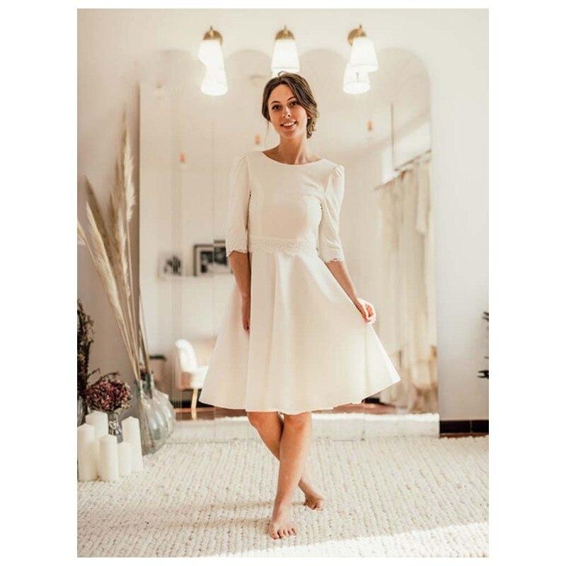 JIERUIZE Vintage Short Wedding Dresses A-Line Half Sleeves Jewel Neck Backless Satin Bridal Gowns Knee Length vestido de noiva