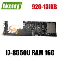 for lenovo yoga 920 13ikb notebook computer motherboard nm b291 motherboard cpu i7 8550u ram 16gb fur 5b20q09639 mainboard