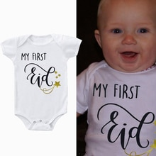 2020 New Baby Short Sleeve Jumpsuit Caasual Letter Print My First Eid Girl Boy Rompers Newborn Baby