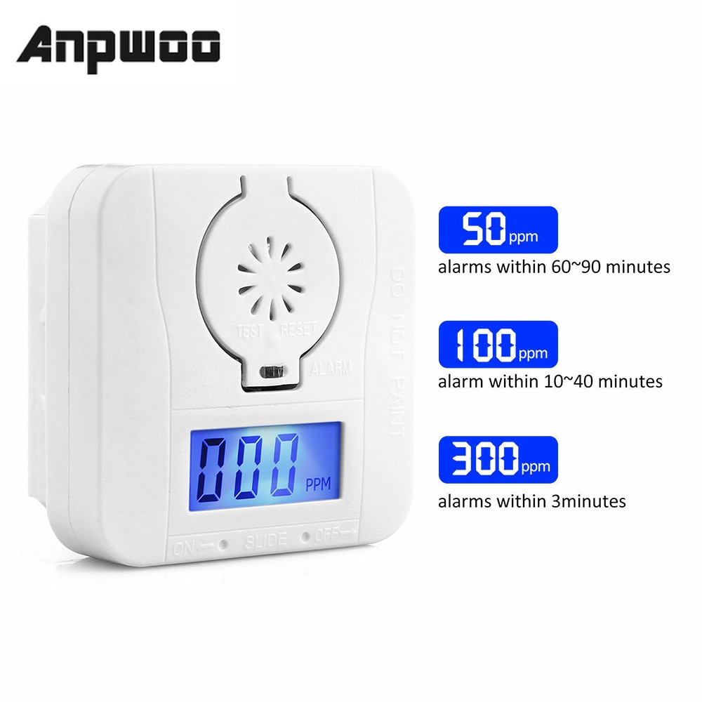 ANPWOO Sensor Carbon LCD Carbon Monoxide Detector Digital Warning Smoke Alarm Battery Power Detector Alarm Security Alarm