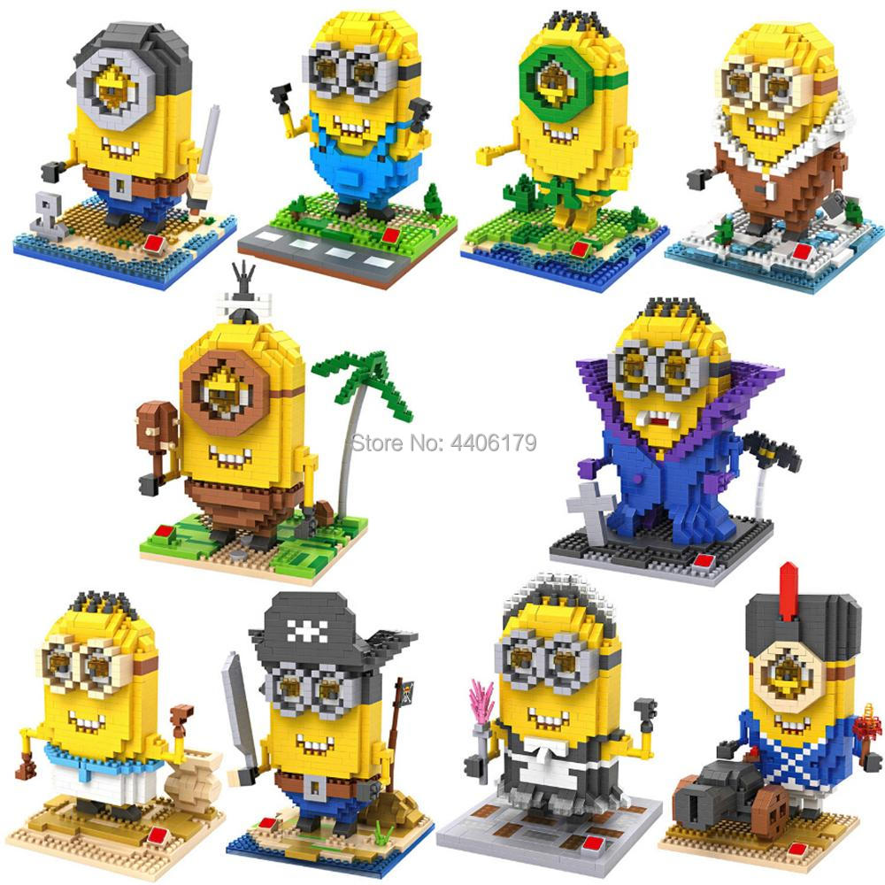 lepining creators classic Cartoon Movie Minion Humans Maid Cosplay Pirates Vampire Eskimo mini Micro Diamond Blocks bricks toys