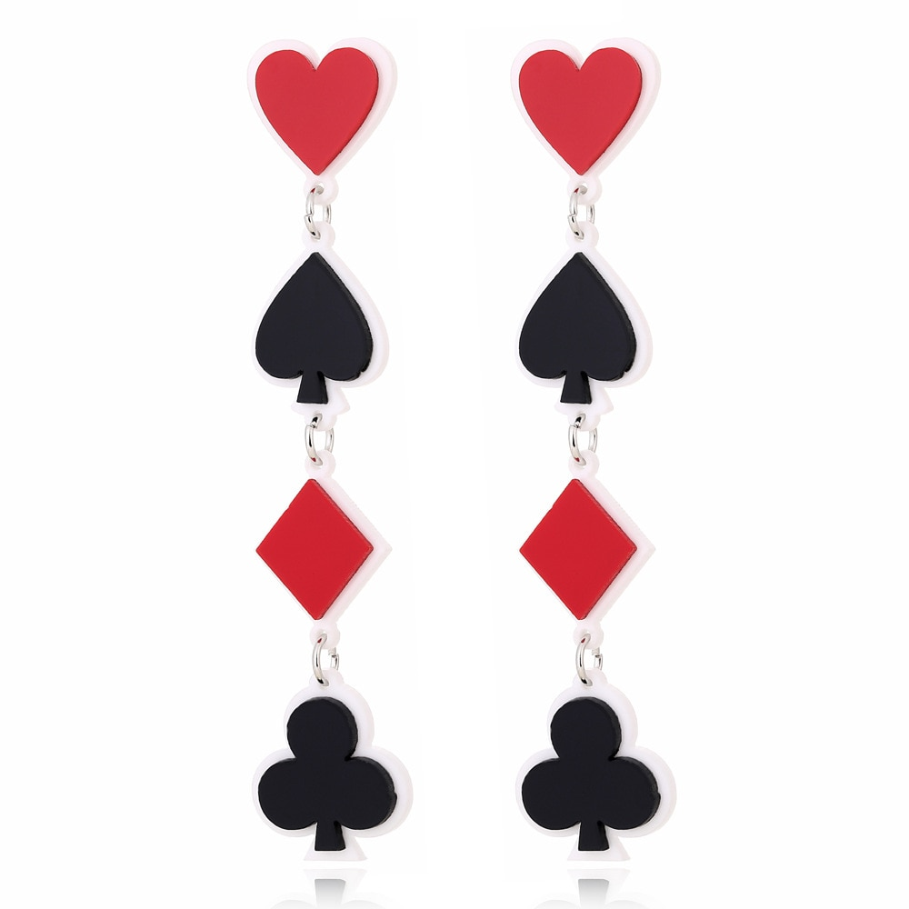 Acrylic Geometric Playing Card Long Earrings Female European Fashion Exaggerated Punk Night Club Jewelry