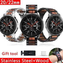 Watchband Stainless Steel Wood for Samsung Watch 3 41mm 45mm Bands 20mm 22mm for Huawei Watch 2 Wris