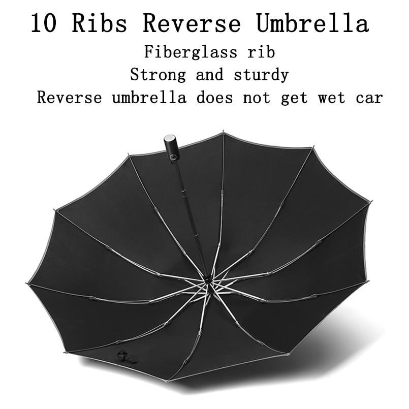 Automatic Umbrella Reverse Folding Business Umbrella With Reflective Strips Umbrellas Rain For Men Women Windproof Male Parasol enlarge