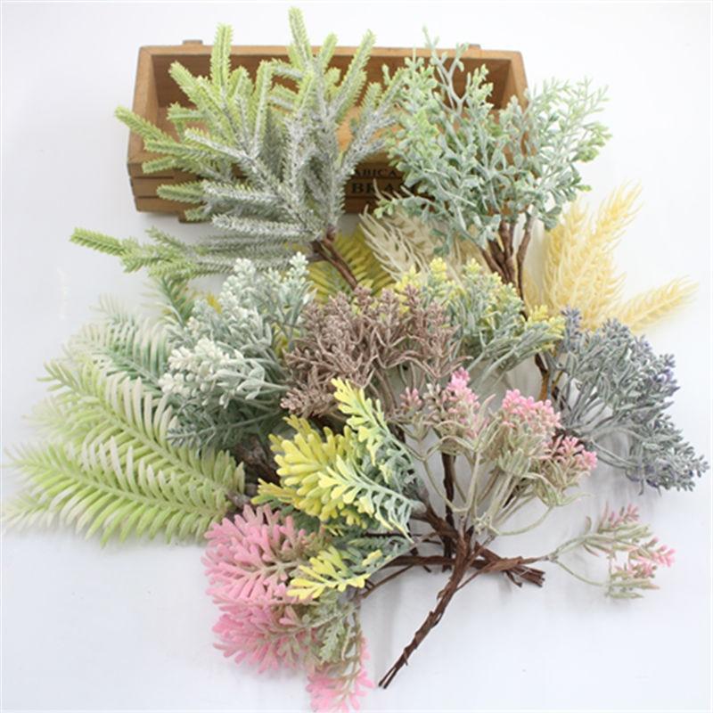 1 pcsmulación planta verde hoja de eucalipto imitación rama seca artificial flor...
