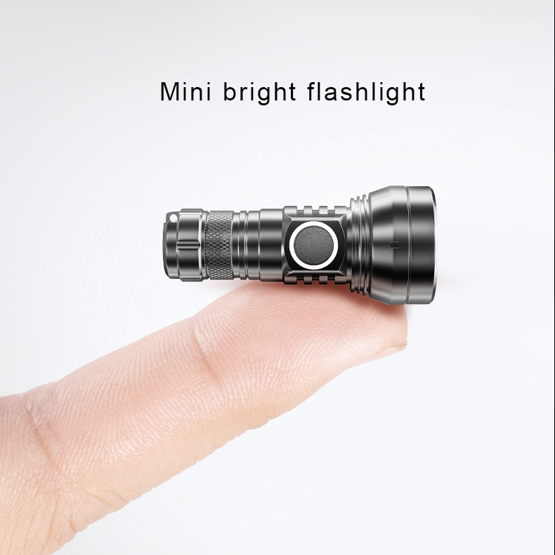 450 Lumen Mini Portable LED Flashlight Powerful 300m Black 10180 Battery Flashlight Rechargeable Lampe Camping Outdoor Torche