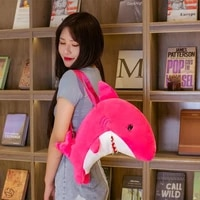 nice 1pc 40cm kawaii bluepink shark plush backpack stuffed marine animal fish toys cute soft schoolbag kids children gift doll