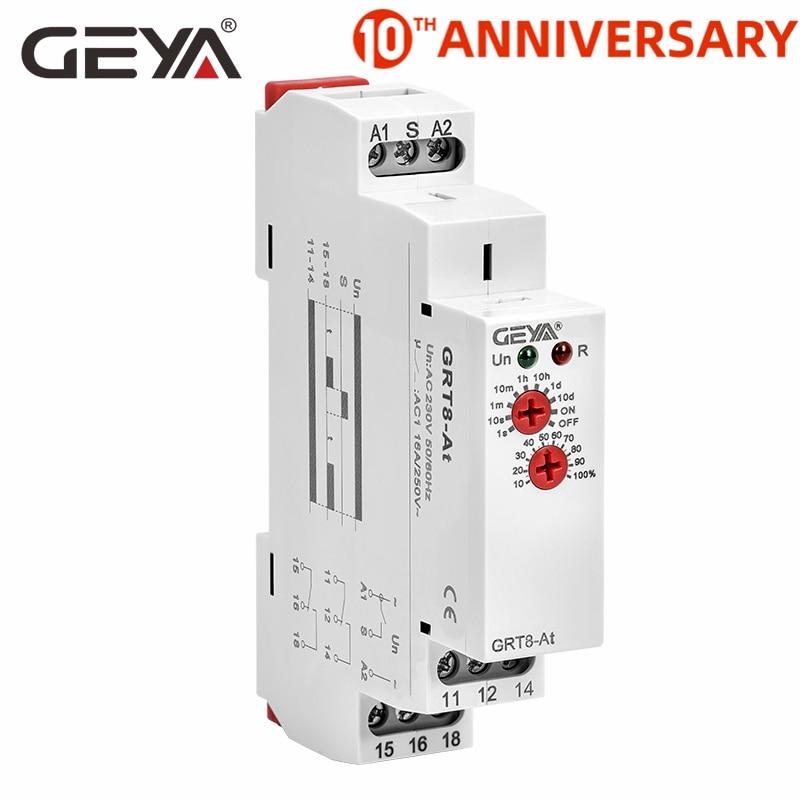 Atraso novo de geya GRT8-At bt no atraso fora do relé de tempo com contato instantâneo 16a 50-60 hz ac230v ou ac/DC12-240V
