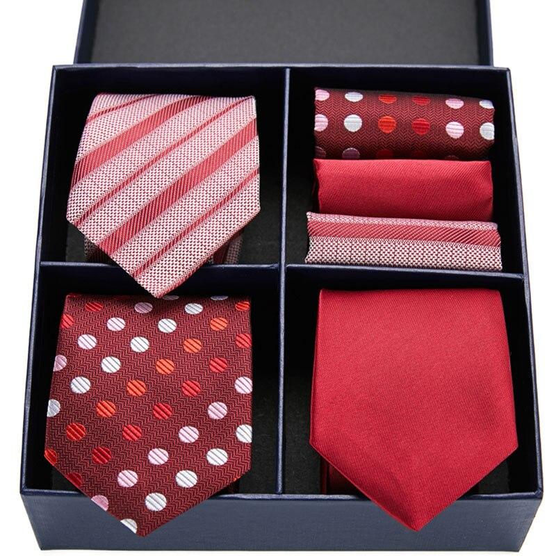 Men's Ties Red and Blue Stripe Flower Floral 7.5cm Jacquard Necktie Hanky Set Accessories Daily Wear Cravat Wedding Gift Box