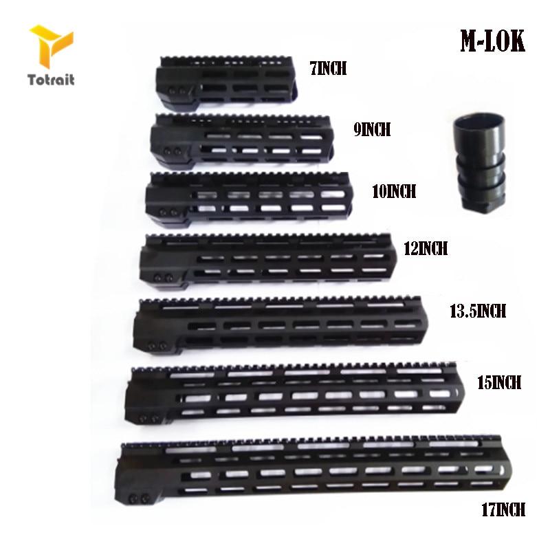 "TOtrait AR15 M-Lok Mlok 7"" 9"" 10"" 12"" 13.5"" 15""17""19"" Slim Free Float M-LOK Handguard Rifle Scope Mount with Steel Nut"
