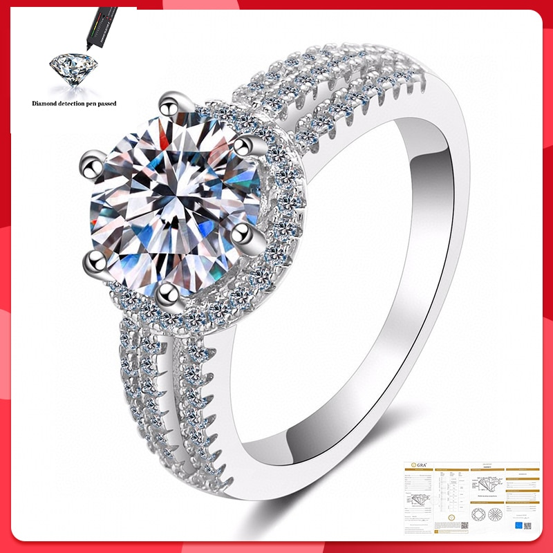 8mm Moissanite Ring 100% S925 Sterling Silver Wedding Bride 2CT D Color VVS1 Quality Ring Woman Gift