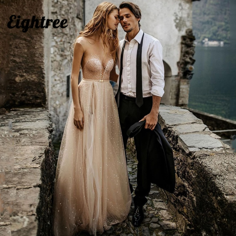Get Eightree Sexy Wedding Dresses V Neck Glitter Sequins Bridal Dress Tulle High Split A-Line Backless Beach Wedding Gowns Plus Size