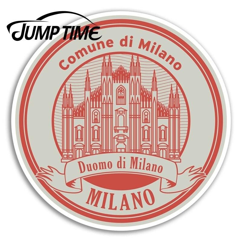 Pegatinas de vinilo Jump Time Milano, pegatina de viaje de la UE de Milán Italia, etiqueta impermeable para coche, accesorios para maletero o coche