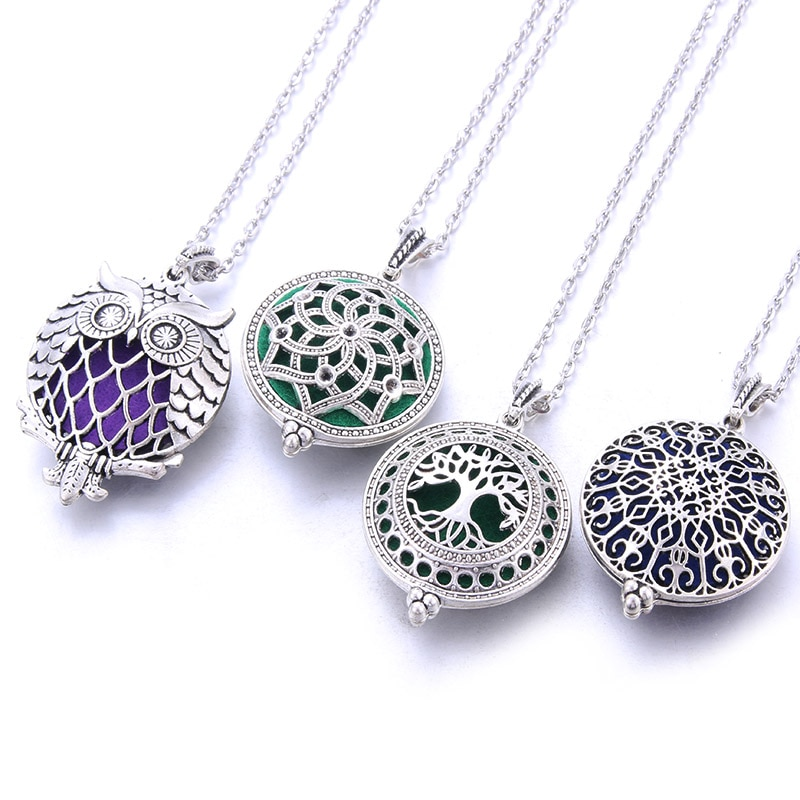2019 New Aromatherapy Necklace Vintage Flower Butterfly Essential Oil Diffuser Perfume Lockets Pendants
