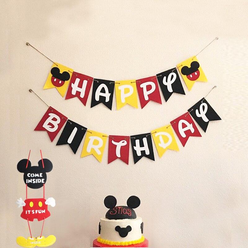 Высокое качество День рождения баннер Микки с днем рождения баннер тема Микки вечерние тянуть цветок украшения поставки