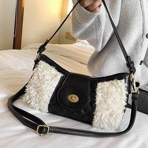 New Fashion Women Bagutte Bag PU Leather Combined Plush Shoulder Bag Small Ladies Handbag Borsa Donna Zippered Crossbody Bag