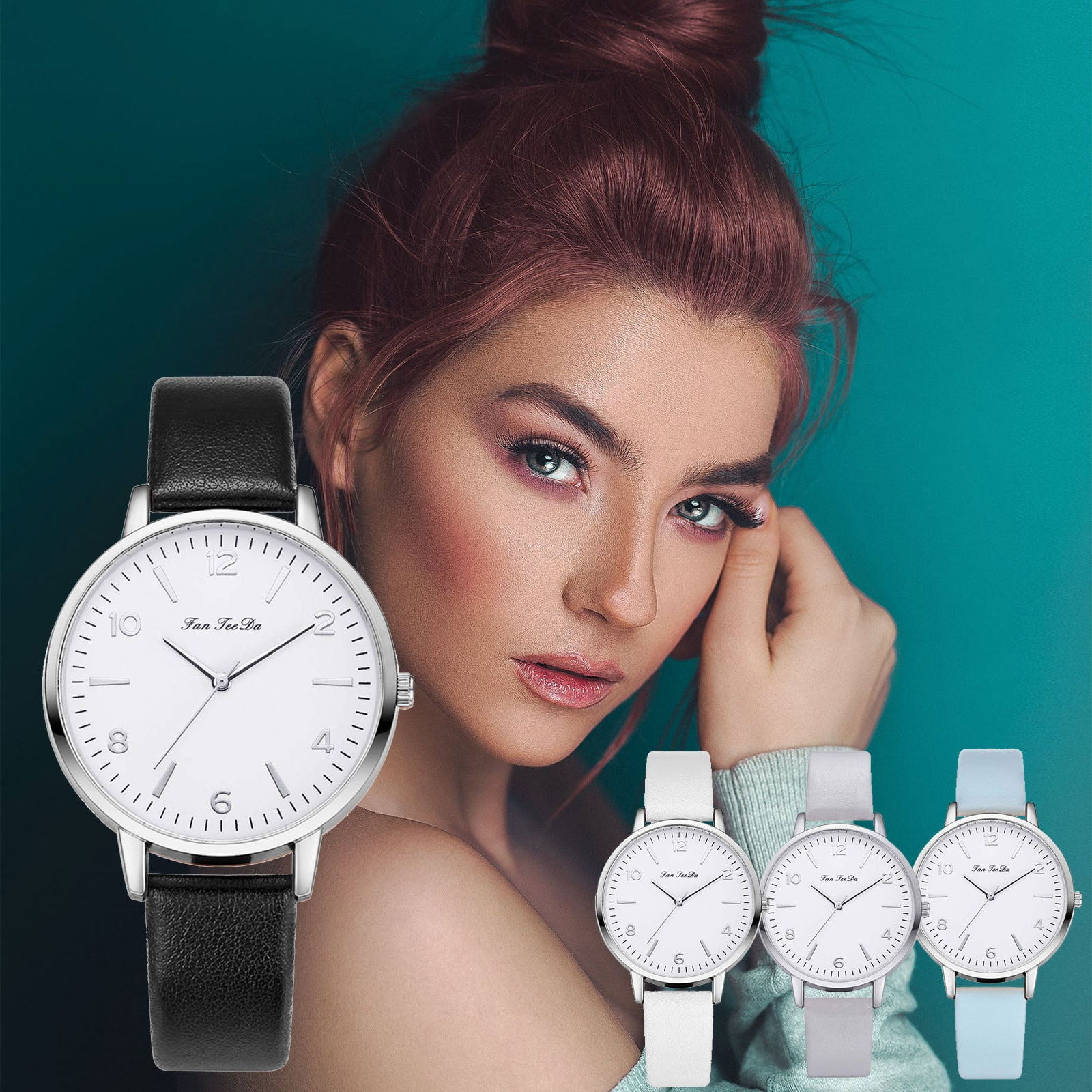 Luxury Quartz Alloy Watch Women Ladies Fashion Stainless Steel Dial Casual Bracele Watch Leather Wri