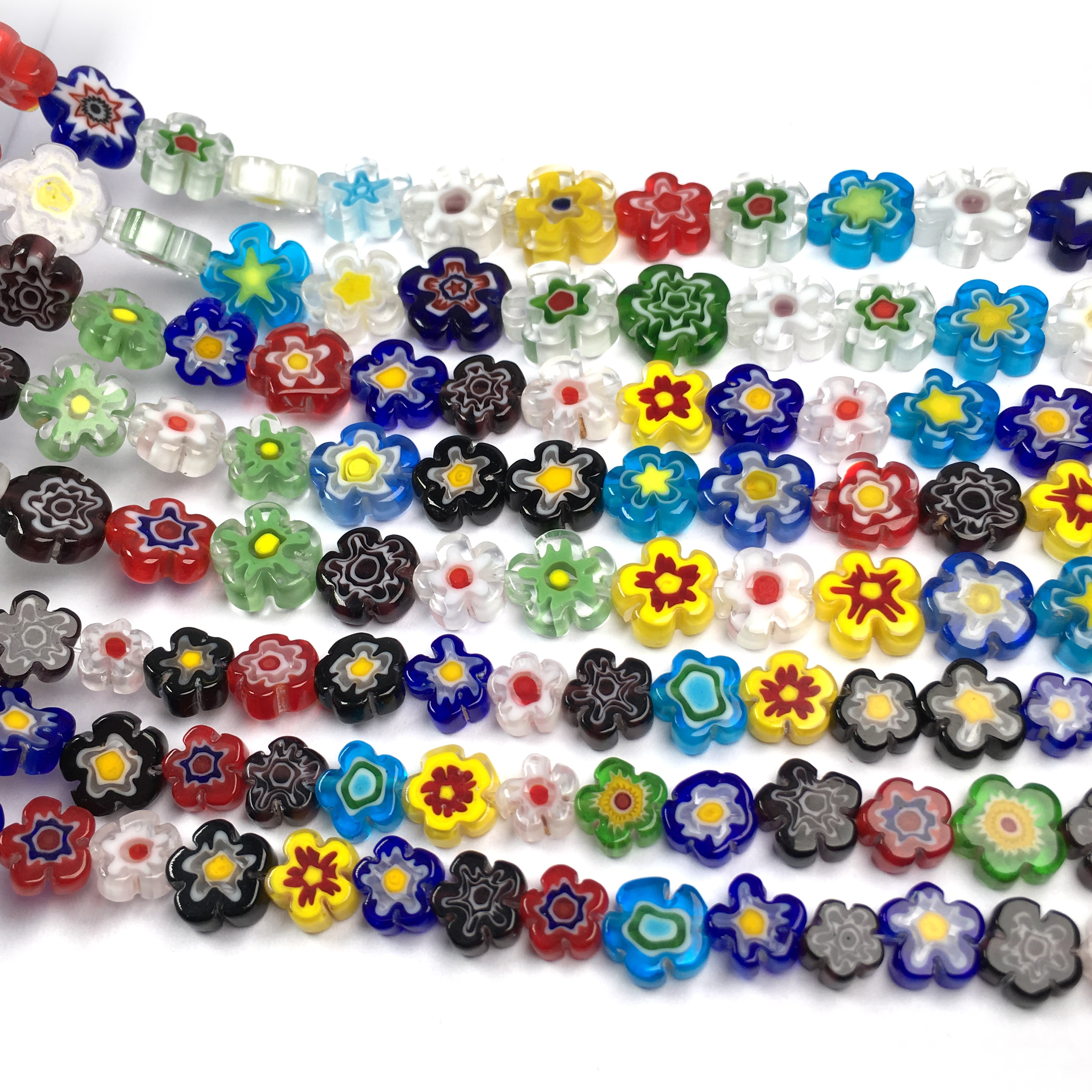 9/11/13mm Thousand Flowers Lampwork Glass Beads Plum Shape Loose Beads DIY Bracelet Necklace Jewelry Making Accessories 14''  - buy with discount