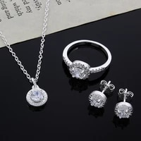 925 silver jewelry round zircon earrings necklaces rings womens costume wedding jewellery set bridal jewelry gift
