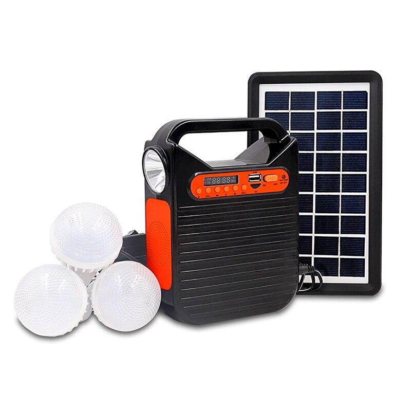 مولد الطاقة الشمسية مع مصباح يدوي 3LED لمبة خلايا الشحن الشمسية في حالات الطوارئ طقم مولد الطاقة الشمس مع سماعات راديو صغيرة تعمل لاسلكيًا