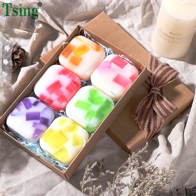 צינג 6X100g בעבודת יד סבון שמן אתרים לבנדר עלה לחות מזין ספא ריחני סבון פנים סבון מתנה לחג המולד סט