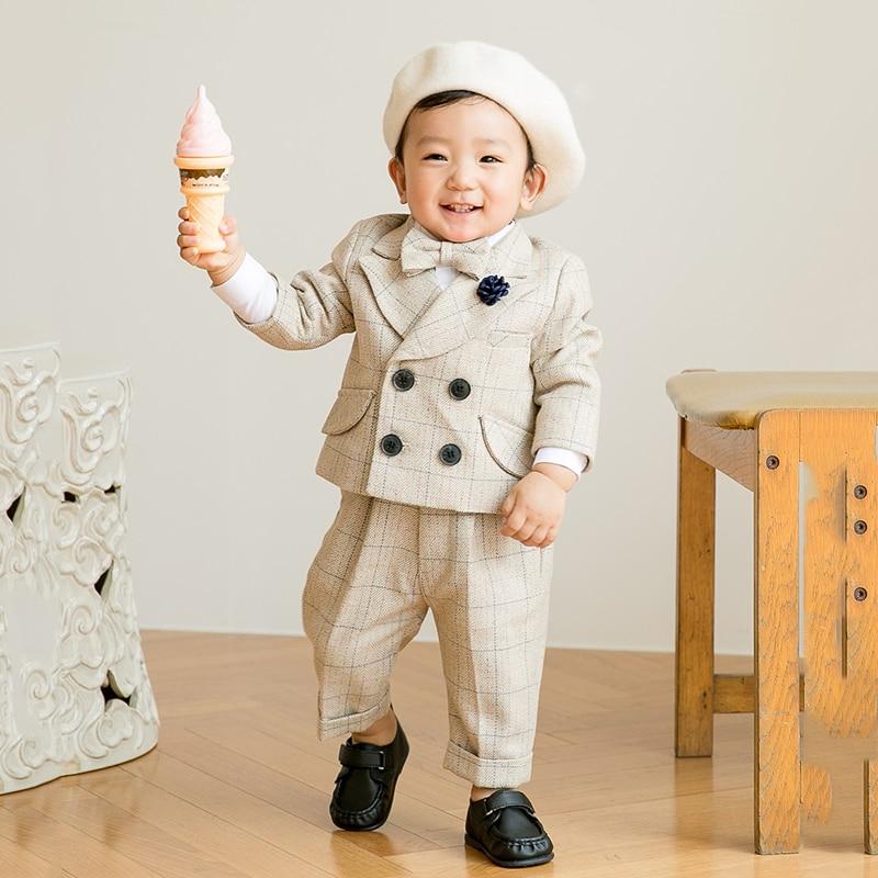 2020 chegada nova menino smoking/festa de casamento bebê menino terno/bebê meninos bege 4 peças conjunto terno do bebê meninos vestido para 1 2 3 4 ano