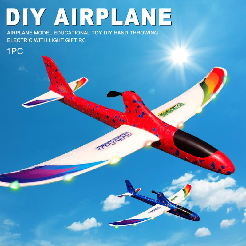 Airplane Model Electric Hand Throwing Capacitor DIY RC Gift With Light Foam For Children Launch Kids