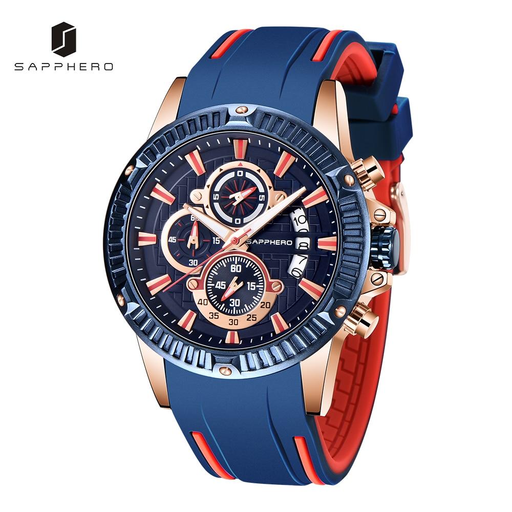 SAPPHERO Mens Watch Silicone Strap 3ATM Waterproof Quartz Movement Chronograph Casual Sport Male Clo
