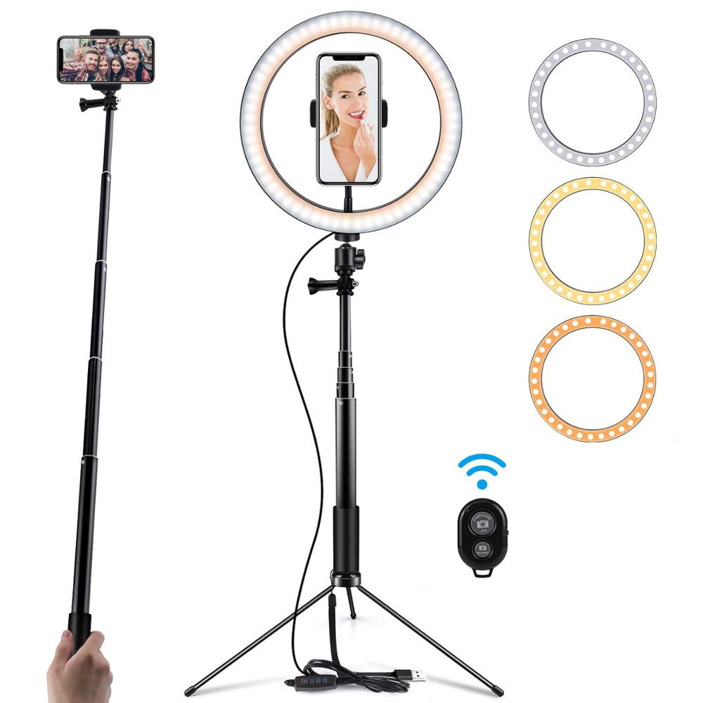10inch Photography Table LED Light Tripod Ring Lamp Youtube Video Live 5500k Photo Studio Selfie Stick Makeup Light For Phone