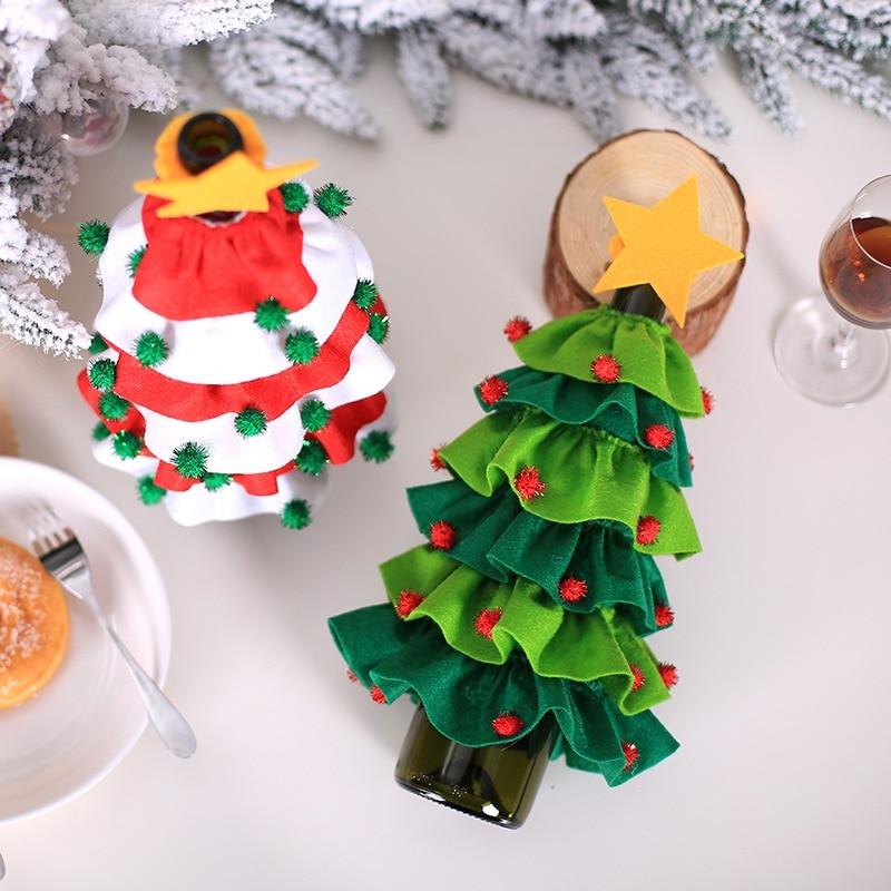 Funda De botella De vino De diseño De árbol De Navidad con...