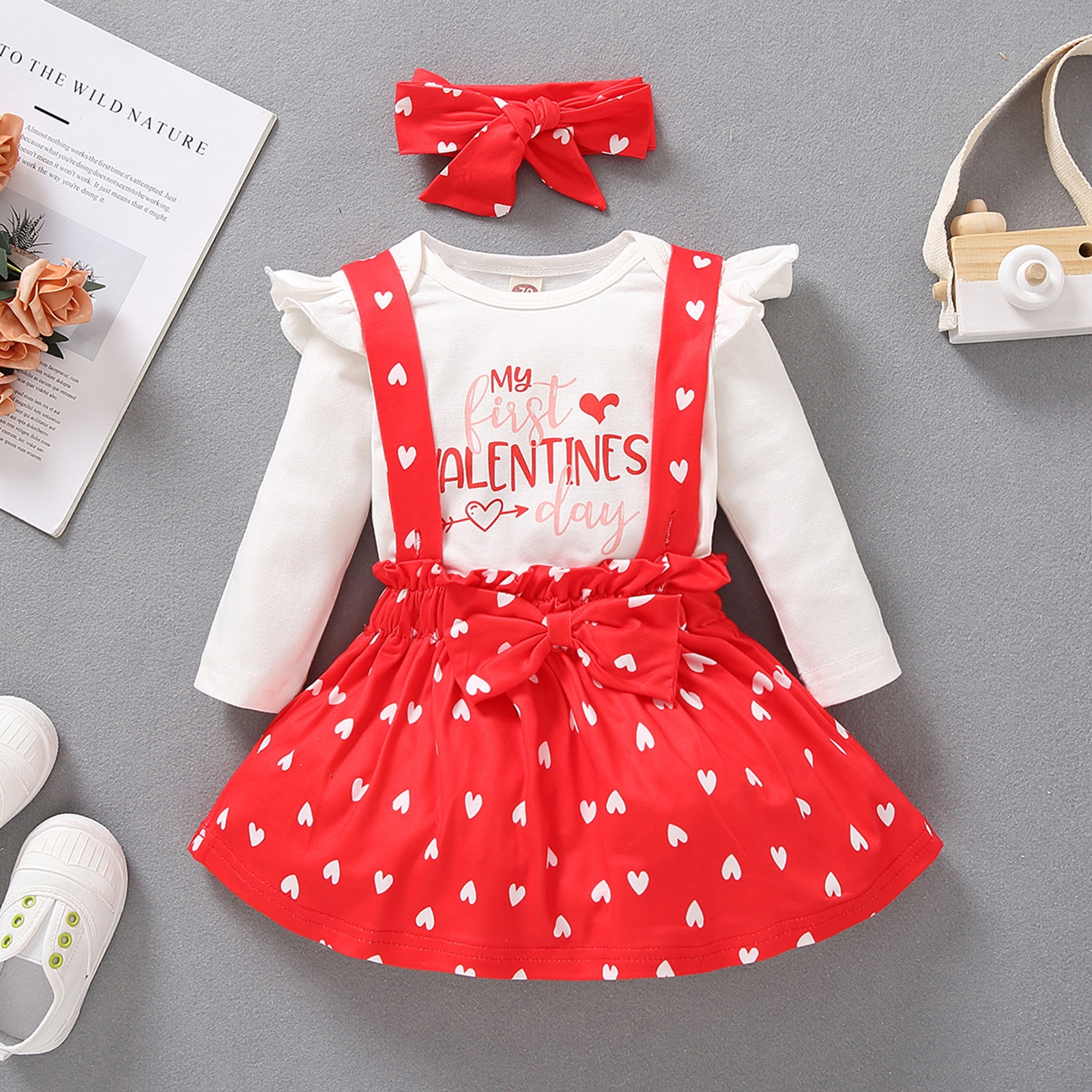 3-18Months Baby Meisje Infant Girls Valentine's Day Romper Bodysuit+Hearts Suspender Skirt Outfits+HairBand Suit Ropa Bebes 5*
