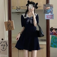 preppy style japanese sweety girly dress kawaii sailor collar cute plaid bow short sleeve loose a line black mini dresses female