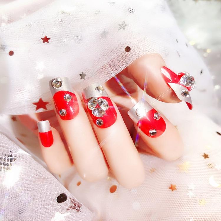 Novia rojo brillante joya patrón 24 láminas/set falsas uñas puntas redondo belleza pegamento diseño arte etiquetas para manicura E16