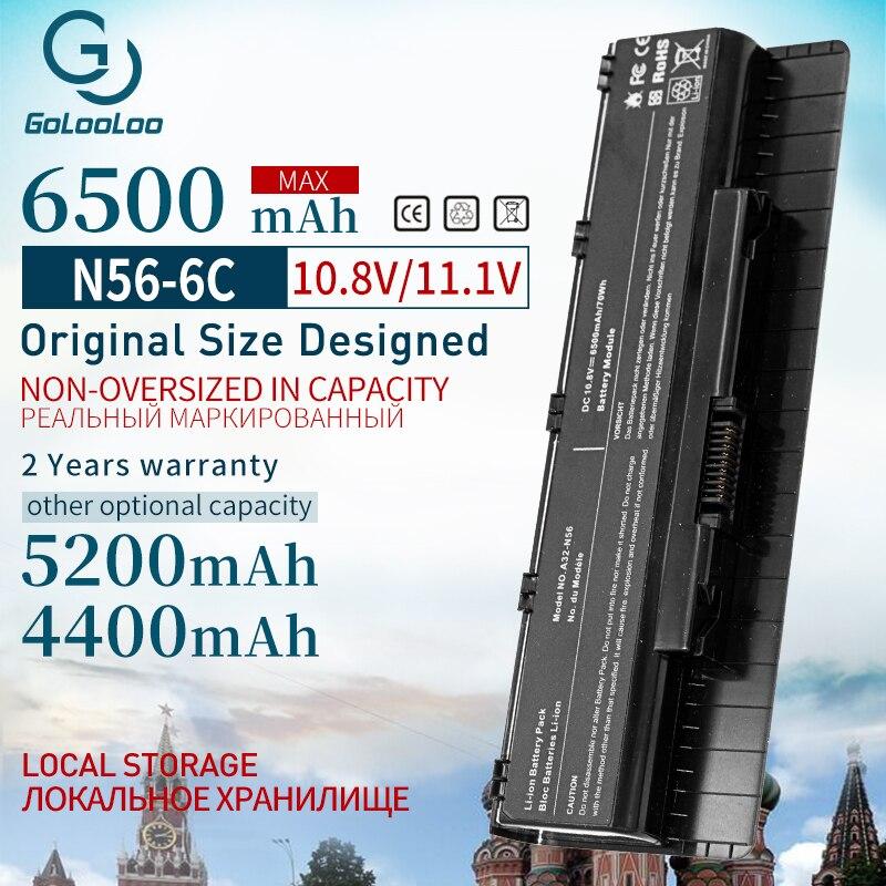 Golooloo 6500 mAh 11.1V Bateria Do Portátil para Asus A33-N56 N56D N56DP N56V N56VJ N46 N46V A31-N56 A32-N56 N46VJ N46VM N46VZ N56