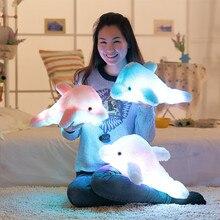 Оригинальная светящаяся плюшевая кукла-Dolphin, 45 см, светящаяся Подушка, светодиодная светящаяся игрушка для животных, цветной детский подарок WJ453