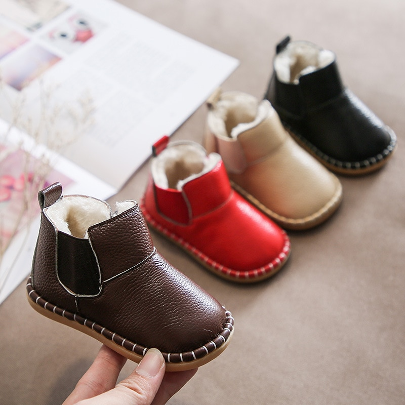 children snow boots winter boys girls boots outdoor cotton fabric shoes waterproof for 30 degree russia warm Baby Girls Boys Snow Boots Winter Infant Toddler Warm Plush Boots Soft Bottom Genuine Leather Waterproof Kids Children Shoes