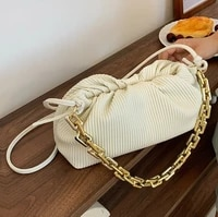 autumn popular 2021 new high quality ladies one shoulder casual solid color fold cross body thick chain portable underarm bag