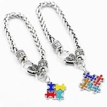 Sensibilisation à lautisme Puzzle coloré carré émail Bracelet à breloques enfants Puzzle autisme Bracelet