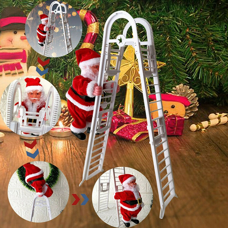 Escalera de escalada eléctrica creativa regalos de Navidad para niños escalada Santa Claus muñeca chico regalo música juguete hogar Decoración de Navidad