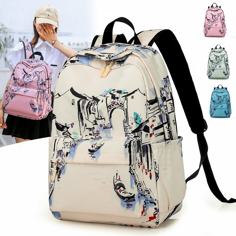 Chinese Style Backpack Waterproof Oxford School Bag for Girls Brand High Quality Personality Leisure Or Travel Bag for Women