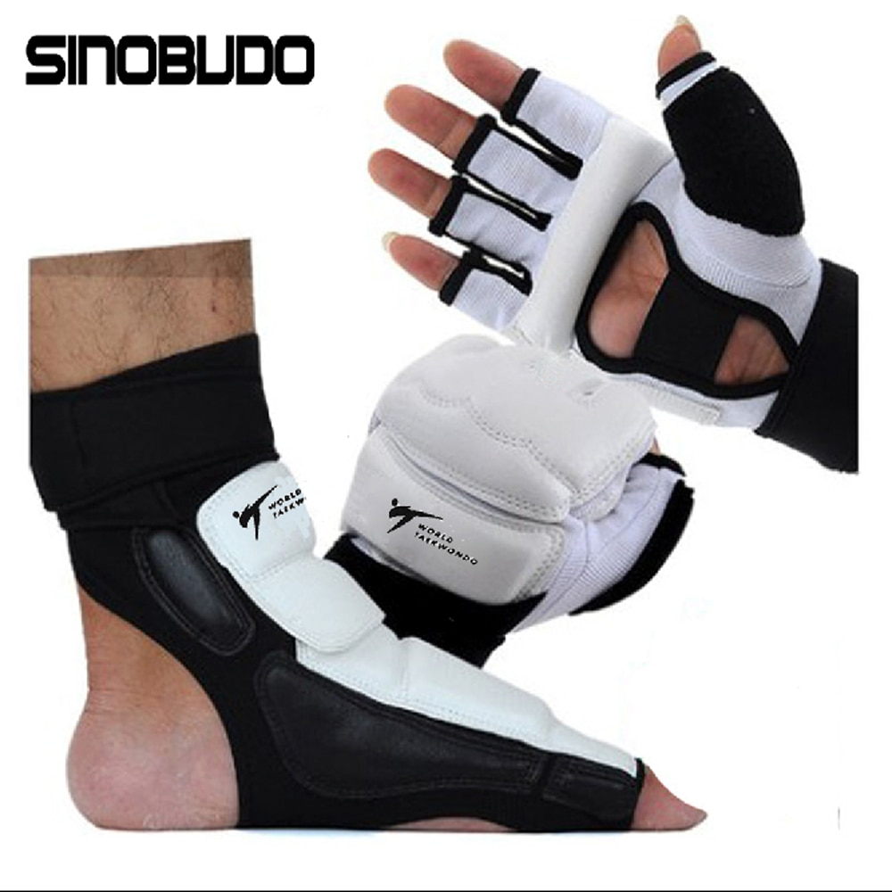 High-Quality Taekwondo WT Pu Hand Gloves Foot Socks Protector Guard Karate Boxing Ankle Palm Protector Guard Gear Suit Adult Kid