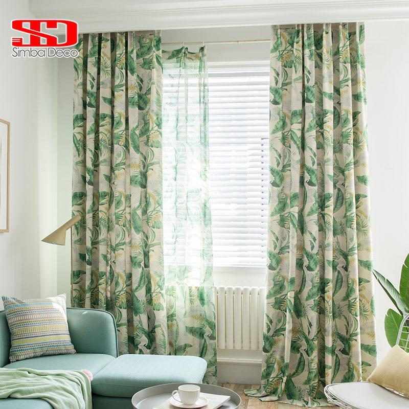 ستائر قطنية مطبوعة أمريكية لغرفة المعيشة ، أوراق الموز الخضراء ، حجاب تول ، بطانة شاشة غرفة النوم ، لوحة واحدة
