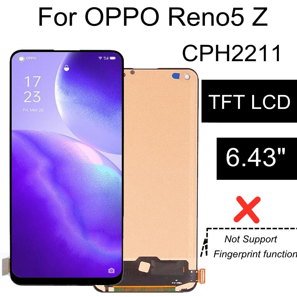 6.43 ''TFT LCD ل ممن لهم Reno5 Z شاشة الكريستال السائل شاشة محول رقمي يعمل باللمس الجمعية ل ممن لهم رينو 5Z CPH2211 العرض