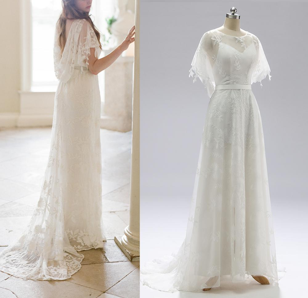Review Lace Boho Beach Garden Country Wedding Dress Real Photos Backless A Line Bridal Gown 2021 Free Shipping Vestido De Noiva #1109