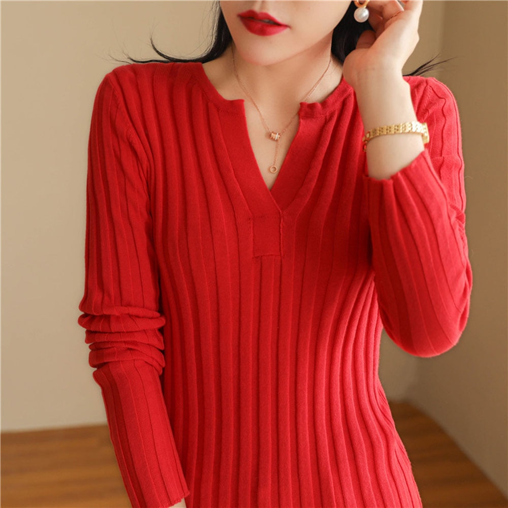 2020 Women Thin Cotton Knit Half Open Neck Pullover Pit Stripe Slim Knit Bottoming Sweater Wool Close-fitting Soft Sweaters