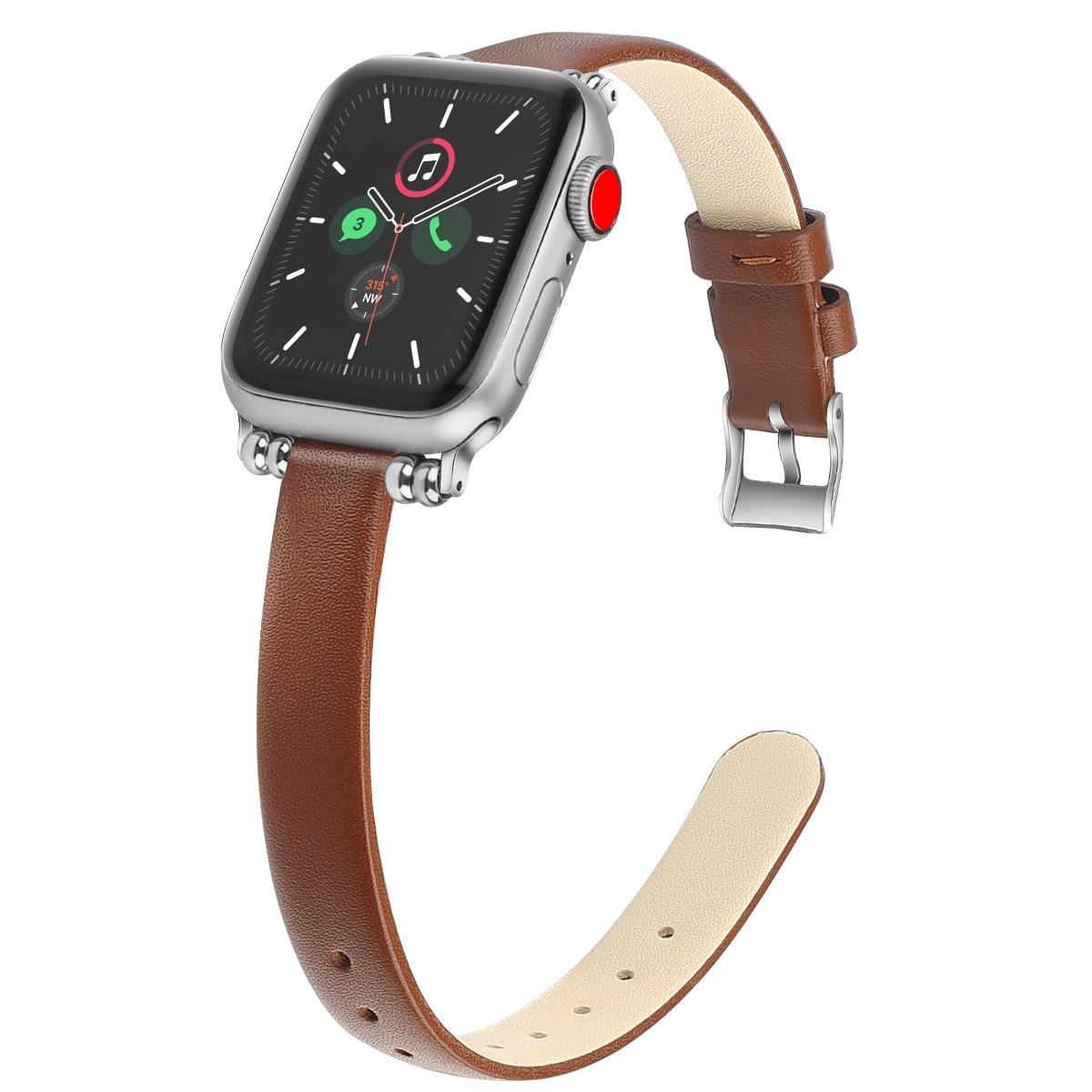 Qualidade de Couro Loop para Apple Cinta para Iver Alta Fino Série se 6 5 Grãos Cabeça Metal Banda 38mm 42mm 4 3 2 1 Ver 40mm 44mm