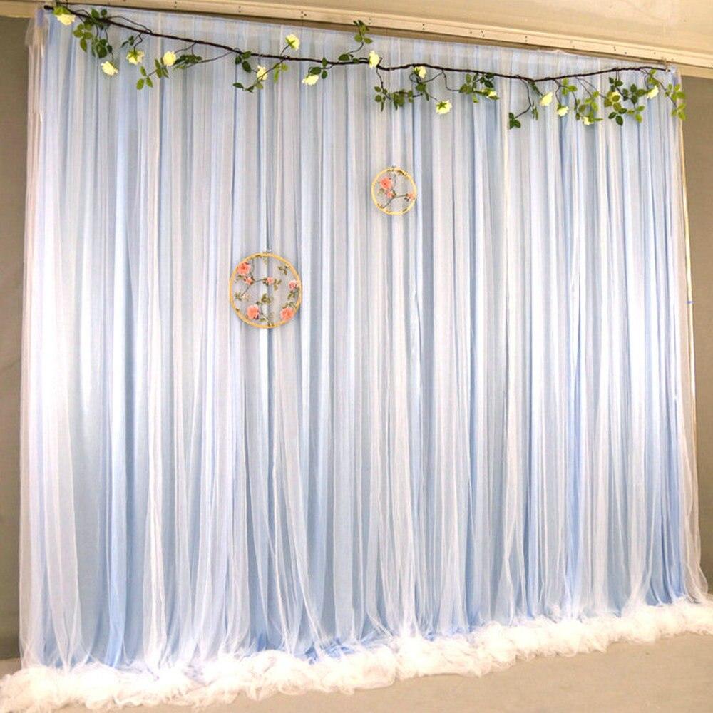 خلفية من التول والشيفون الأزرق الفاتح ، خلفية لحفل الزفاف ، ستائر لحديثي الولادة ، كشك الصور