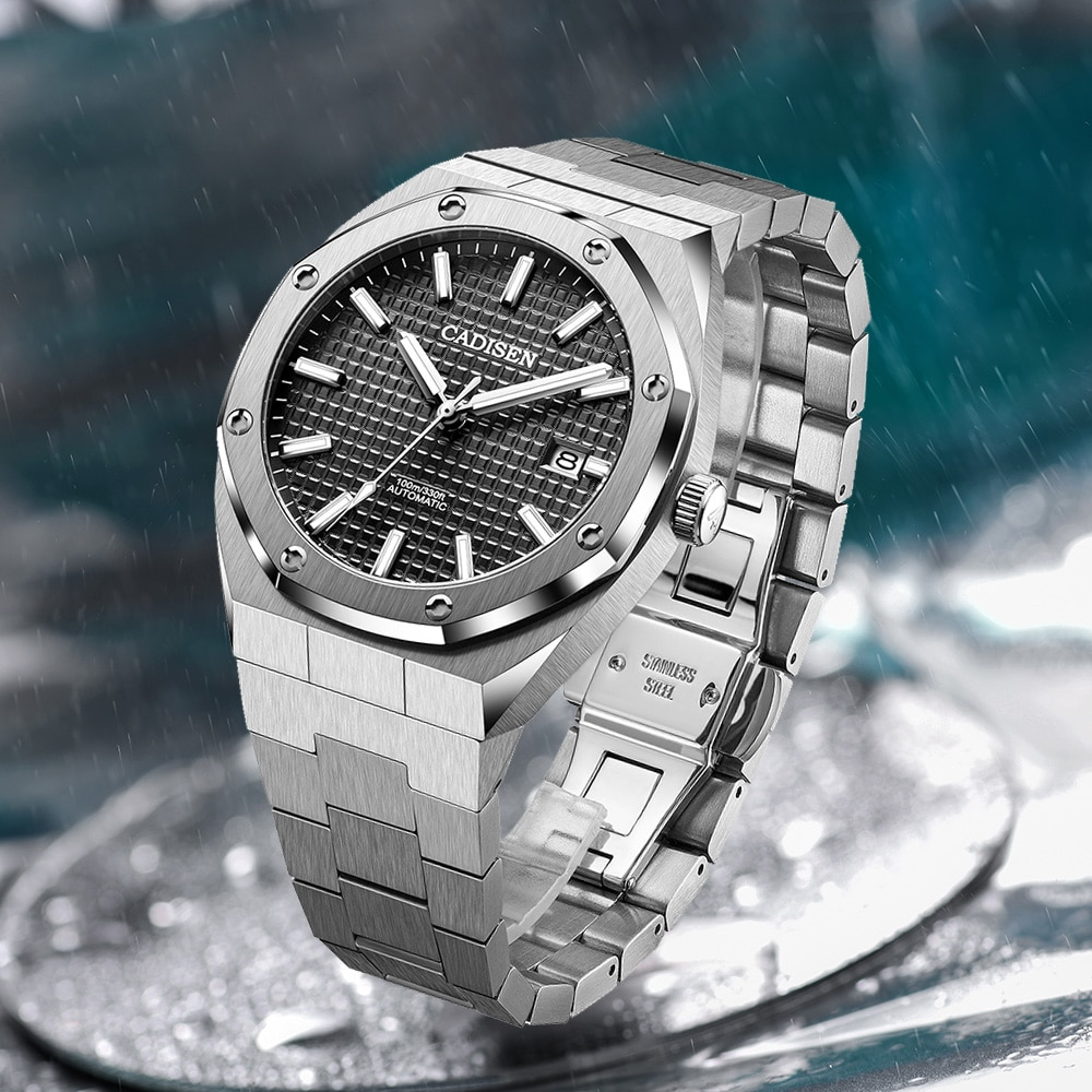 CADISEN New 42MM Men Watches Mechanical Automatic NH35A Blue Watch Men 100M Waterproof Brand Luxury Casual Business Wristwatch