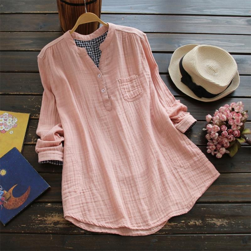 Grande taille ZANZEA femmes coton lin Blouse solide col en V manches longues boutons poches automne Feminina Blusas été chemise ample