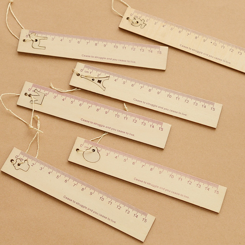 Wooden Ruler 15cm Measuring Rulers with Pendant Bookmark Drafting Tools for Kids, Students Office School Stationery Supplies blel school accessories drafting tools xmas plastic triangular scale ruler students measuring tool rulers